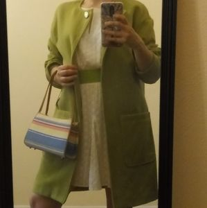Kenneth Cole lime green coat long sz M, green coat
